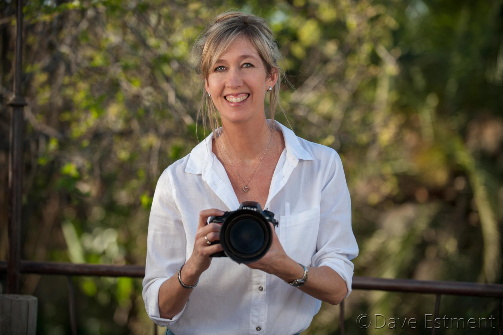 Naomi Estment with Nikon camera, photographed by Dave Estment