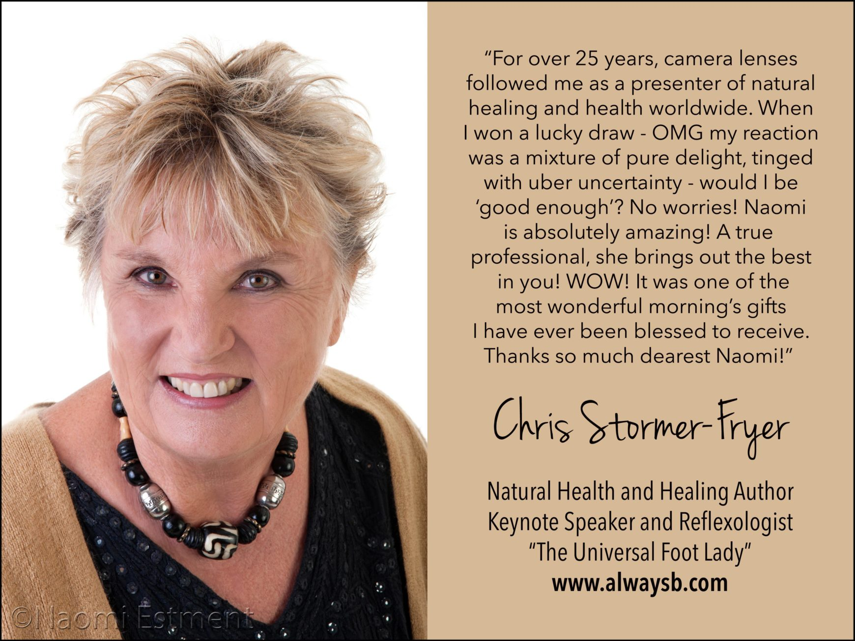 Chris Stormer-Fryer Testimonial for Naomi Estment