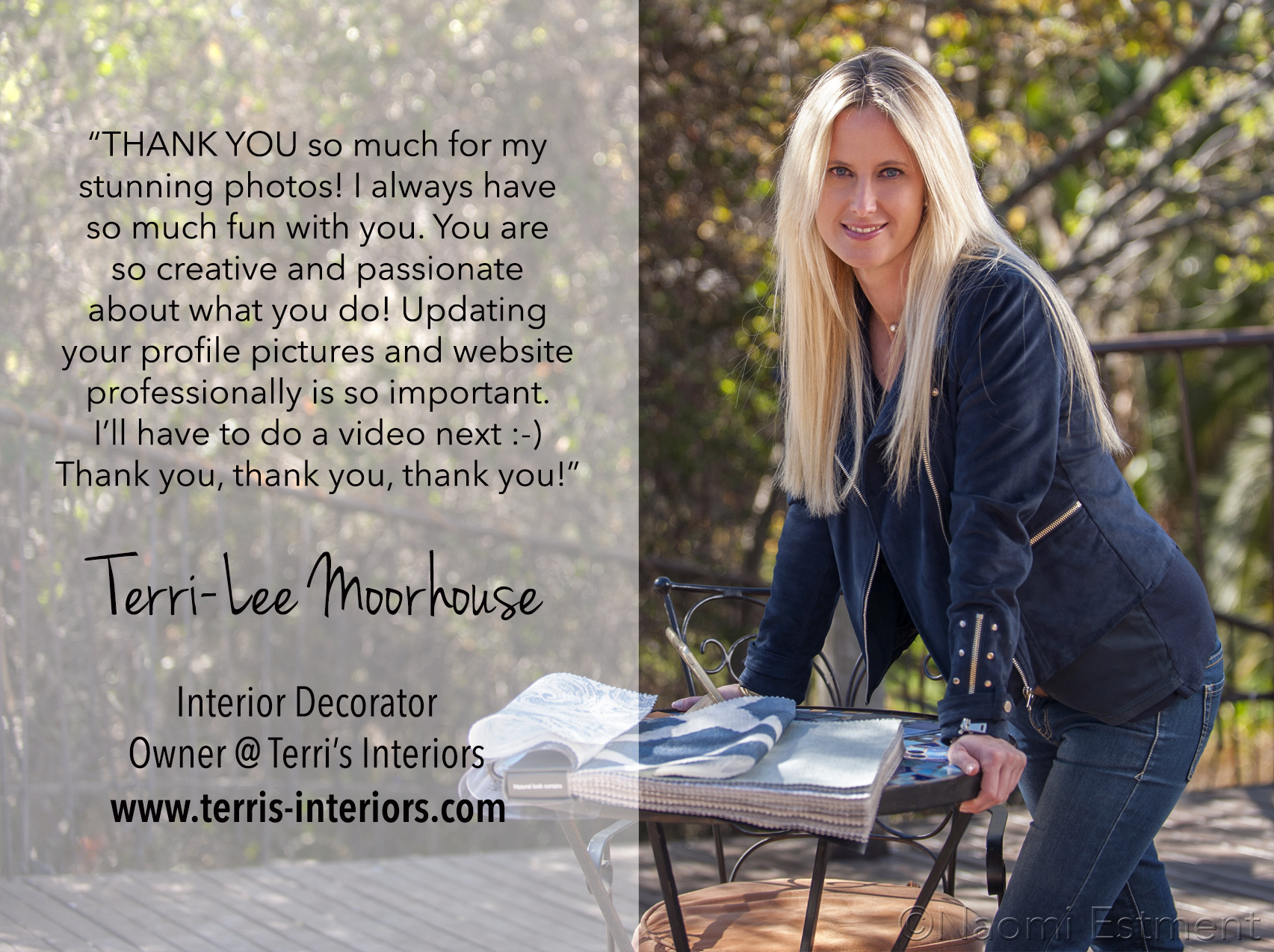 Terri-Lee Moorhouse Testimonial for Naomi Estment