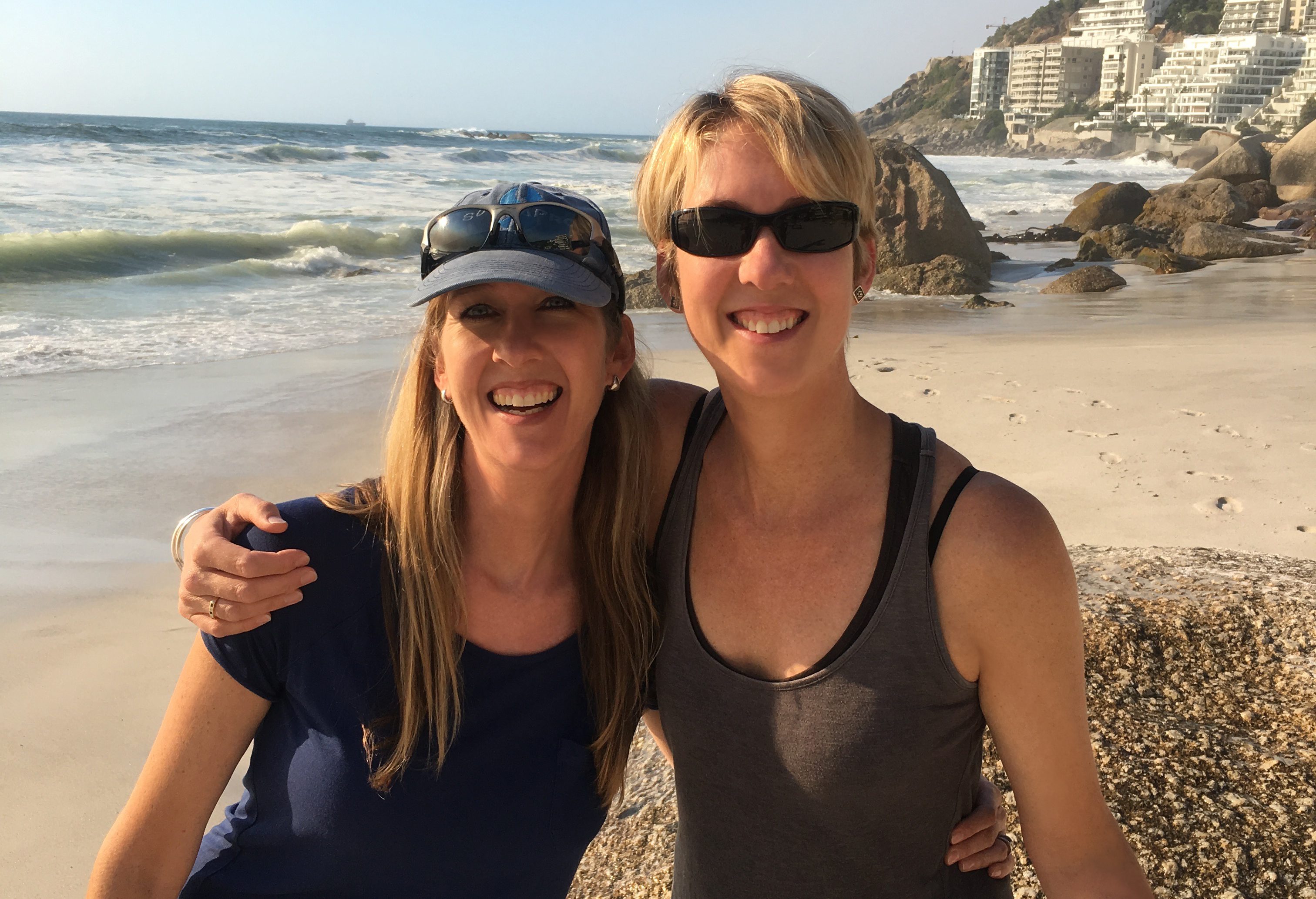 Naomi and Ruth at Clifton Beach in Cape Town